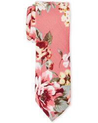 Original Penguin - Pink Arias Floral Slim Tie - Lyst