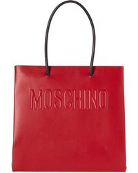 Moschino - Red Logo Convertible Leather Tote - Lyst