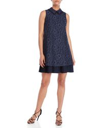 Nanette Lepore - Navy Collared Lace Dress - Lyst