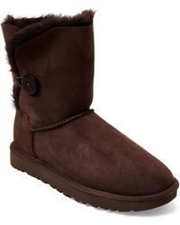 UGG - Chocolate Bailey Button Ii Real Fur Boots - Lyst