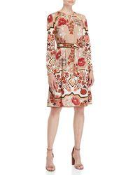 Leonard - Printed Belted Wool Dress - Lyst