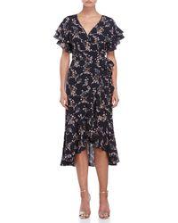 Max Studio - Floral Wrap Crepe Dress - Lyst