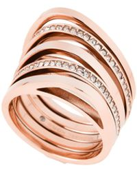 Michael Kors - Rose Gold-tone Beyond Brilliance Stack Ring - Lyst