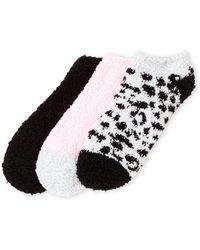 Ellen Tracy - 3-pack Leopard Print Cozy Ankle Socks - Lyst