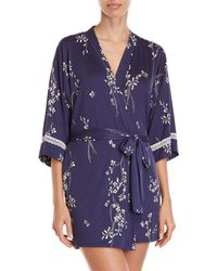 In Bloom - Floral Jersey Short Robe - Lyst
