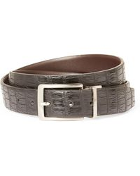 English Laundry - Croc Embossed Reversible Leather Belt - Lyst