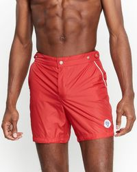 84f685bcfc Robinson Les Bains Board Dive Oxford Extra Long Swim Trunks in White for  Men - Lyst