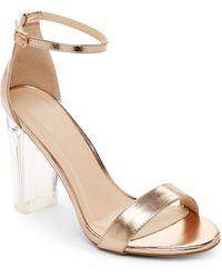 Wild Diva - Rose Gold Morris Lucite Heel Sandals - Lyst
