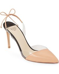 Francesco Russo - Beige 90 Leather Sling Back Pumps - Lyst