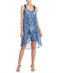 Gottex - Printed Mesh Hi-low Cover-up Dress - Lyst