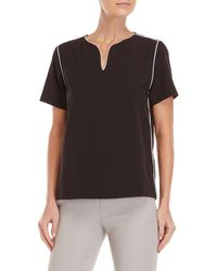 Premise Studio - V-neck Contrast Piping Top - Lyst
