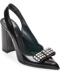 Mulberry - Black Studded Bow Leather Slingback Pumps - Lyst