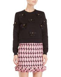 Boutique Moschino - Black Bow Detail Fleece Sweatshirt - Lyst