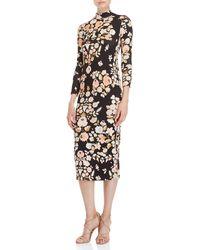 Leonard - Black Floral Mock Neck Midi Sweater Dress - Lyst
