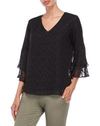 Sioni - Dotted V-neck Tiered Bell Sleeve Top - Lyst