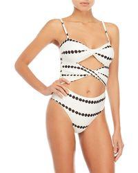 10 Crosby Derek Lam - Printed Twist Cutout One-piece Swimsuit - Lyst
