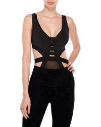 Wow Couture - Mock Bandage Bodysuit With Mesh Panel - Lyst