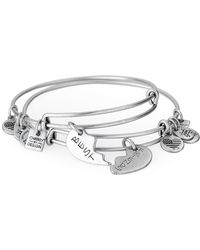 ALEX AND ANI - Two-piece Silver-tone Best Friends Bangle Set - Lyst