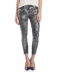 Faith Connexion - Repaired Metallic Coated Jeans - Lyst