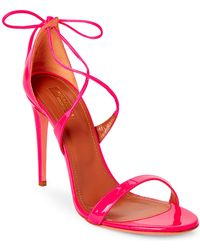 Aquazzura - Fluo Pink Linda Patent Leather Sandals - Lyst