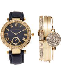 Adrienne Vittadini - Adst1580G165 Gold-Tone & Blue Watch & Bracelet Set - Lyst