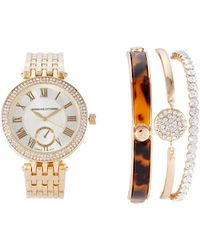 Adrienne Vittadini - Ad1033G165 Gold-Tone Watch & Bracelet Set - Lyst