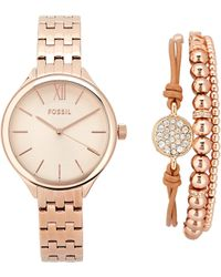 Fossil Bq3078 Rose Gold Tone Watch Bracelet Set Lyst