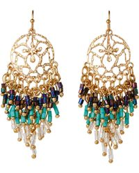 Catherine Stein - Gold-Tone & Turquoise-Tone Chandelier Earrings - Lyst