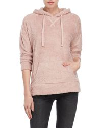 Pink Rose - Fuzzy Hooded Sweater - Lyst