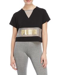 PUMA - Exposed Logo Cropped Tee - Lyst