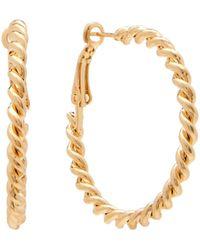 Kenneth Jay Lane - Polished Gold-tone Rope Hoop Earrings - Lyst