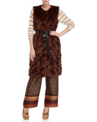 Ottod'Ame - Faux Fur Belted Sleeveless Overcoat - Lyst