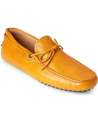 Tod's - Mustard Leather Moc Toe Drivers - Lyst