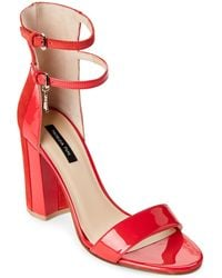 Patrizia Pepe - Bright Red Two-piece Block Heel Sandals - Lyst