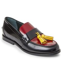 Mulberry - Black & Burgundy Tasseled Leather Loafers - Lyst