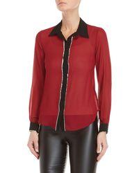 GAUDI - Red Long Sleeve Metallic Trim Shirt - Lyst