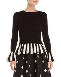 Boutique Moschino - Black Stripe Bell Sleeve Sweater - Lyst