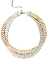 Kenneth Jay Lane - Two-row Gold-tone & Silver-tone Snake Chain Necklace - Lyst