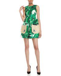 Dolce & Gabbana - Banana Leaf Print Straw Pocket Fit & Flare Dress - Lyst