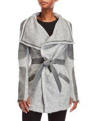 BLANC NOIR | Belted Leather Panel Wrap Jacket | Lyst