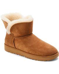 UGG - Chestnut Classic Cuff Real Fur Mini Boots - Lyst