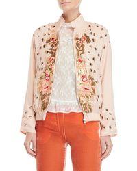 Blugirl Blumarine - Embroidered Sequin Bomber Jacket - Lyst