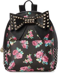 be486ab3092 Betsey Johnson - Striped Studded Floral Backpack - Lyst