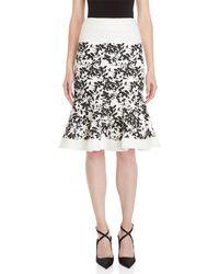 Carolina Herrera - Printed Tweed Flounce Skirt - Lyst