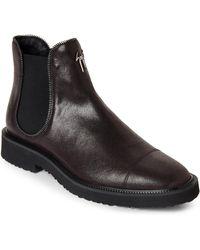 Giuseppe Zanotti - Brown Zipper-trim Leather Chelsea Boots - Lyst
