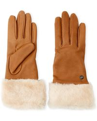 UGG - Long Leather Real Fur Gloves - Lyst