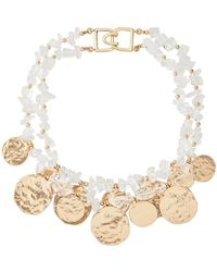 Kenneth Jay Lane - 2-row Rock & Satin Gold-tone Coins Necklace - Lyst