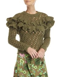 Boutique Moschino - Green Ruffled Open Knit Sweater - Lyst