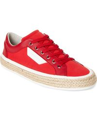 Dolce & Gabbana - Red & White Canvas Low-top Sneakers - Lyst