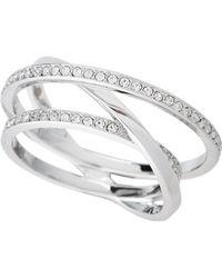 Swarovski - Silver-tone Spiral Ring Size 8.25 - Lyst